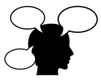 Thinking person. With speech bubbles Stock Images