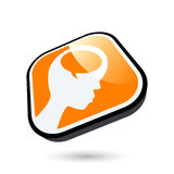 Thinking person button Stock Photos