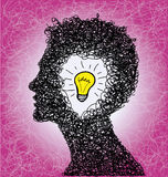Thinking person with lightbulb idea Royalty Free Stock Images