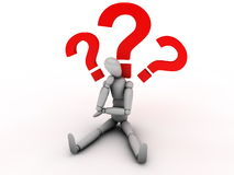Thinking person with question marks Stock Image