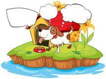 A thinking pet beside his doghouse. Illustration of a thinking pet beside his doghouse Royalty Free Stock Photo