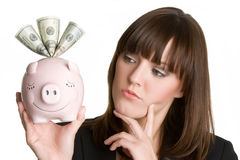 Thinking Piggybank Woman Stock Photos