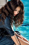 Thinking in the pool Royalty Free Stock Photography