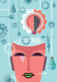 Thinking of power, illustration with gear Royalty Free Stock Photo