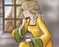 Thinking Princess -Fairy tales Stock Photo