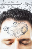 Thinking process concept with gears on man forehead at equations Royalty Free Stock Photography