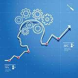 Thinking Process. Head and brain gears in progress. chart concept of human thinking Stock Photo