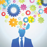 Thinking Process. Head and brain gears in progress. chart concept of human thinking Stock Image