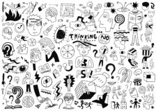 Thinking ,psychology ,sick people -big doodle set ,background. Thinking hand drawn vector icons, design elements vector illustration