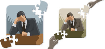 Thinking Puzzle Man Stock Images