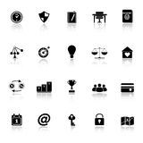 Thinking related icons with reflect on white background Royalty Free Stock Photo
