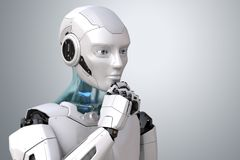 Thinking cyborg robot. Thinking robot. Clipping path included. 3D illustration stock illustration