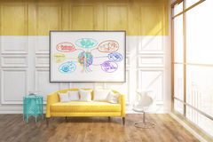 Thinking room modern New York office. Room in New York city. Sketch of brain and different ideas on whiteboard. Big yellow sofa and white chair under it. Large Royalty Free Stock Photos