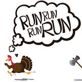 Thinking and running cartoon turkey Royalty Free Stock Images