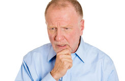 Thinking sad, older man Royalty Free Stock Photography
