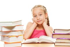 Thinking schoolgirl Royalty Free Stock Photos