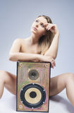 Thinking Sensual Sexy Caucasian Blond Woman with Loudspeaker Stock Photos