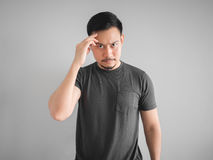 Thinking and serious man standing. Royalty Free Stock Photos