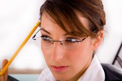 Thinking service provider holding a pencil Royalty Free Stock Photography