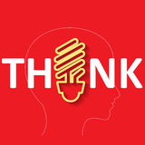 The Thinking sign on red color Stock Photo