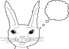 Thinking Smiling Outlined Rabbit Stock Images
