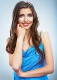 Thinking smiling woman portrait.Isolated studio background Royalty Free Stock Photo