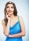 Thinking smiling woman portrait.Isolated studio ba Royalty Free Stock Images