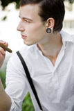 Thinking and smoking Royalty Free Stock Images
