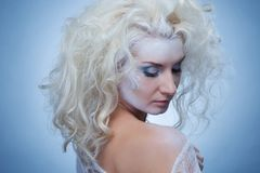 Thinking snow queen royalty free stock photo
