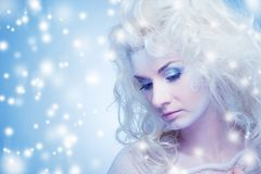 Thinking snow queen Stock Images