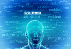 Thinking of solution. Illustration of a man thinking to find  a solution Royalty Free Stock Photography