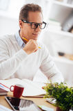Thinking about solution. Thoughtful mature man holding hand on chin and looking away with smile while sitting at his working place Royalty Free Stock Photos