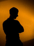 Thinking of something. silhouette of man Stock Photography