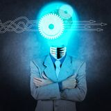 Businessman with lamp-head 3d metal brain as concept. Thinking about structuring virtual diagram of business process with solutions. businessman with lamp-head Stock Photos