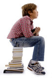 Thinking student with books copyspace Stock Photos