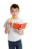 Thinking student pencil and book Stock Image