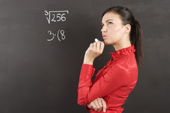 Thinking student in red Stock Image