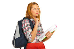 Thinking student woman Royalty Free Stock Photography