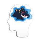 Thinking success concept, Head with brain and businessman on top holding flag with boat against crazy sea and thunderbolt in storm Stock Image