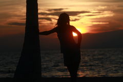 Thinking at sunset Royalty Free Stock Photos