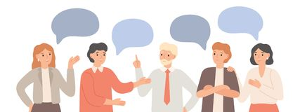 Free Thinking Team. Teamwork Communication, Office Workers Communicate And Discuss Project. Group Chat, Group Talk Together Royalty Free Stock Images - 164126429
