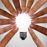 Thinking Together Concept. As a diverse group connecting and joining into the shape of an inspirational light bulb as a community support metaphor with 3D