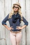 Thinking trendy blonde posing outdoors Stock Photo
