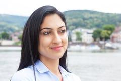 Thinking turkish woman outside Stock Image