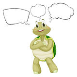 A thinking turtle. Illustration of a thinking turtle on a white background Royalty Free Stock Photos