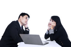 Thinking two business people Stock Photography