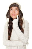 Thinking winter woman isolated Stock Image
