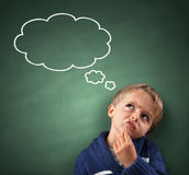 Thinking With Thought Bubble On Blackboard Royalty Free Stock Image