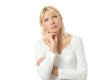 Thinking woman. Portrait of beautiful middle adult thinking woman looking up Royalty Free Stock Photo