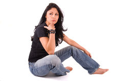 Thinking woman. Royalty Free Stock Photo